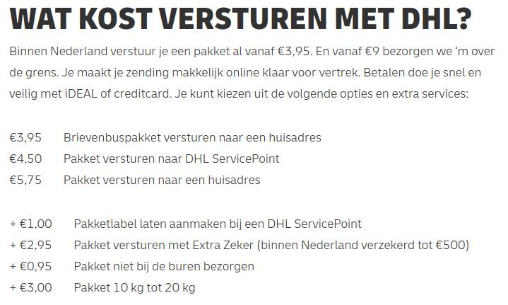 DHL pakkettarieven Nederland